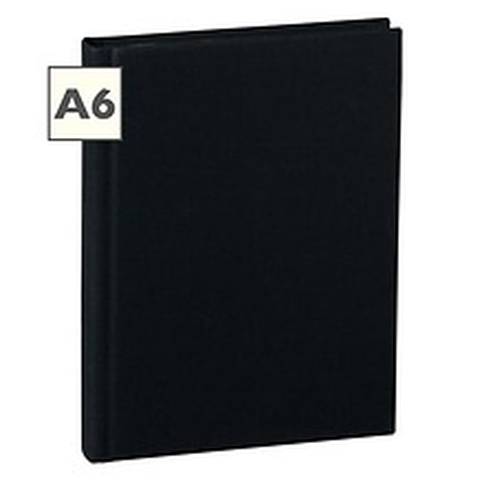 Notizbuch Classic (A6) blanko, Buchleinenbezug, 144 Seiten,black