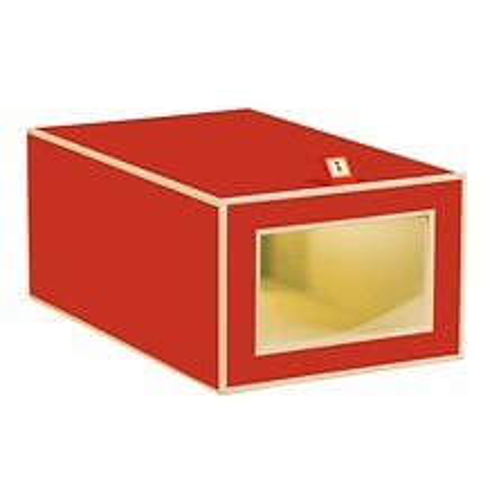 Schuhbox mit Sichtfenster und Klappe, red