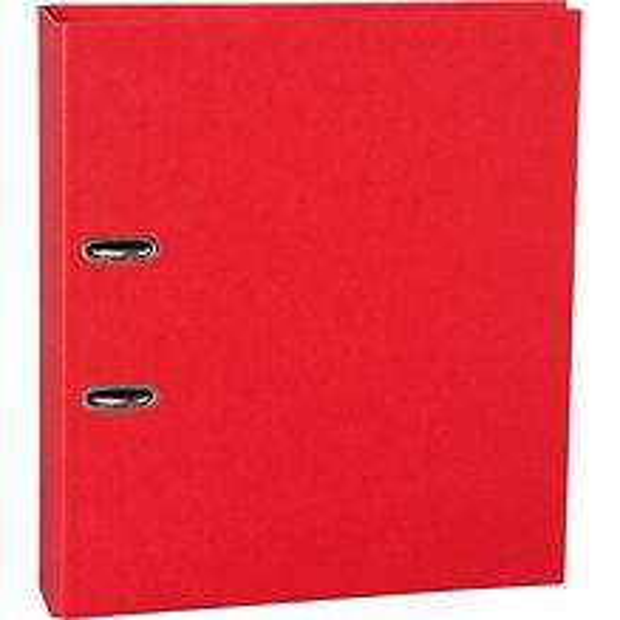 Klassischer Ordner (A4) breit, Hebelmechanik, 7 cm Rücken, Efalinbezug, red