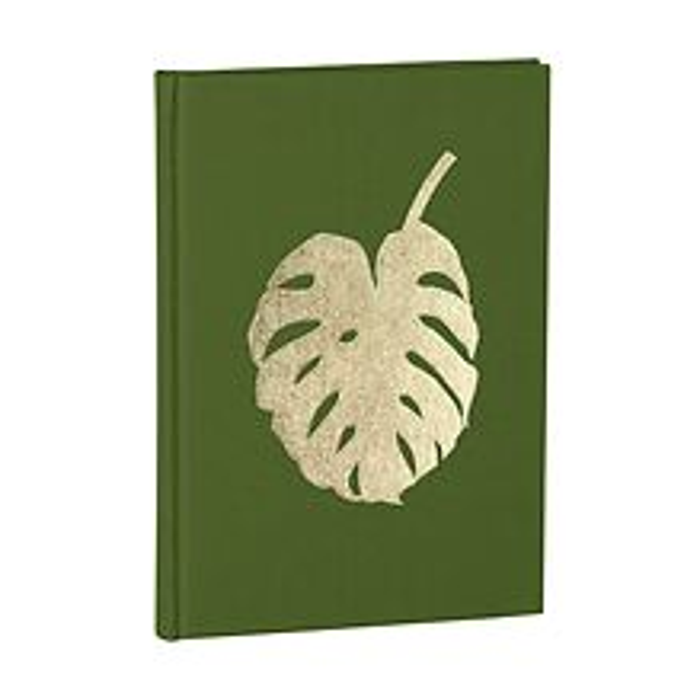 Notizbuch Classic B5 Monstera Goldprägung, blanko, Leinenbezug, 144 Seiten, irish