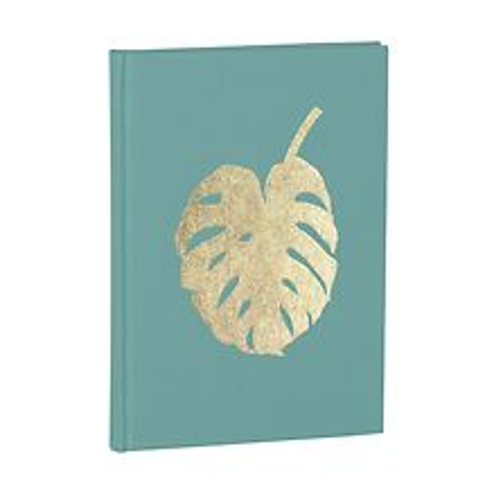 Notizbuch Classic A5 Monstera Goldprägung, blanko, Leinenbezug, 144 Seiten, acquaverde