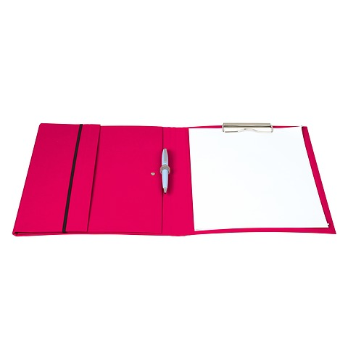 Clipfolder (A4) mit Metallclip, Stiftehalter und Gummizug  Efalinbezug, turquoise