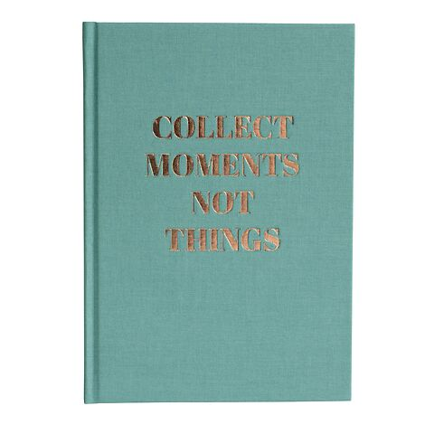 Notizbuch Classic A5 dotted, acquaverde, Kupferprägung, Collect Moments not Things